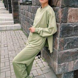 Одежда - Костюм свитшот свободный с разрезами и брюки палаццо (хлопок 2х-нитка) (зеленый), 0