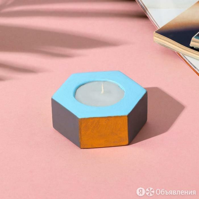 Свеча в подсвечнике (ручная работа) «Серый, голубой и золотой», 7 х 3 х 8 см по цене 394₽ - Декоративные свечи, фото 0