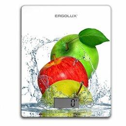Кухонные весы - Весы кухон. эл. ERGOLUX ELX-SK02-С01Яблоки, до 5 кг, 20*14cм, ЖК дисплей, 1xC..., 0