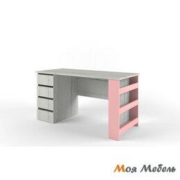 Компьютерные и письменные столы - Стол с тумбой Тумба Слева розовый «Нью Тон», 0