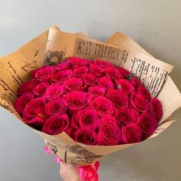 Цветы, букеты, композиции - Букет из 35 малиновых роз , 0