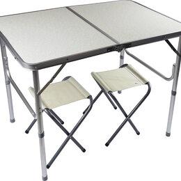 Походная мебель - Стол Туристический арт 8812 р-р: 90*60 + 2 стула, серый, 0