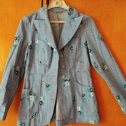 Жакеты - Пиджак, джинсовый с цветочками, р 42-44, Финляндия, 0