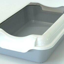 Туалеты и аксессуары  - Туалет для кошек с бортиком без сетки HOMECAT (37*27*11,5) серый, (бортик в к..., 0