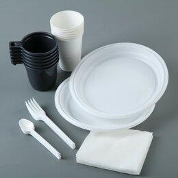 Наборы для пикника - Набор одноразовой посуды «Чайный №2», 6 персон, цвет МИКС, 0