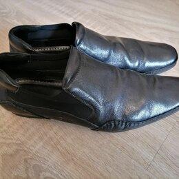 Туфли - Мужские кожаные туфли черного цвета 44-45 р-ра, 0