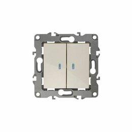Электроустановочные изделия - Выключатель 2кл с/у «Эра» с индикатором слоновая кость, 0