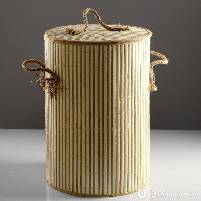 Корзина для белья, с крышкой и ручками, складная, 39×39×56 см, бамбук, джут по цене 3558₽ - Корзины, коробки и контейнеры, фото 0