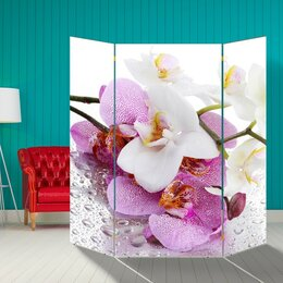 """Ширмы - Ширма """"Орхидеи. Утренняя свежесть"""", 160 × 160 см, 0"""