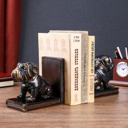 """Животные - Держатели для книг """"Чёрные бульдоги"""" с золотом набор 2 штуки 14х15,5х9 см, 0"""