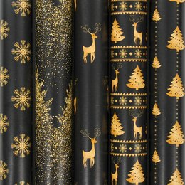 Подарочная упаковка - Бумага упаковочная новогодняя 70х100 см ЗОЛОТАЯ СКАЗКА «Black&Gold», 5 дизай, 0