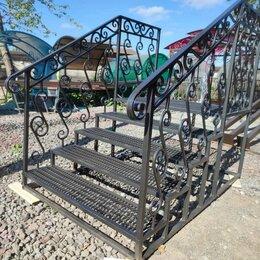 Лестницы и элементы лестниц - Металлическая лестница на крыльцо, ступени, перила, 0