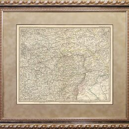 Гравюры, литографии, карты - Гравированная карта 1887 года. Центральные регионы Империи R1473, 0