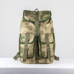 Рюкзаки - Рюкзак туристический, отдел на шнурке, 3 наружных кармана, цвет зелёный, 0