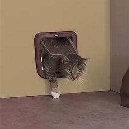 Лежаки, домики, спальные места - SAVIC Дверь-створка д/кошек 4 положения, коричневая 28,5*29,5* см S3602 , 0