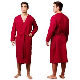 Домашняя одежда - Текстильный городок Халат вафельный запашной мужской р-р 54 цв.Вишня, 160 гр/..., 0