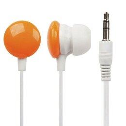 Аксессуары для наушников и гарнитур - Наушники «LP» для MP3 плееров «Конфетки» разъем 3,5 мм. (вставные/оранжевые), 0