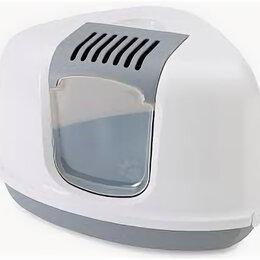 Когтеточки и комплексы  - SAVIC Туалет-домик д/кошек NESTOR CORNER серый 58.5*45,5*40 см S2003 , 0