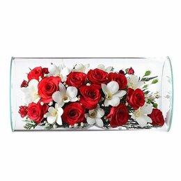 Цветы, букеты, композиции - Композиция из роз и орхидей 23*16 см., 0