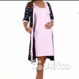 Домашняя одежда - Комплект для беременных в роддом халат и сорочка бирюзовый nataly, 0