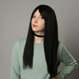 Аксессуары для волос - Queen fair Парик искусственный, с чёлкой, имитация кожи, 60 см, цвет чёрный, 0