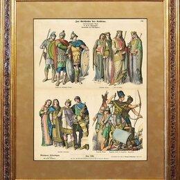 Гравюры, литографии, карты - Гравюра 1880-ых гг., акварель, Костюмы разных эпох R1467, 0
