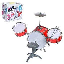 Ударные установки и инструменты - Барабанная установка Jazz, 3 барабана, тарелка, палочки, стульчик, МИКС, 0