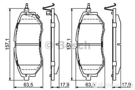 Колодки тормозные дисковые перед Bosch 0986494679 по цене 2973₽ - Тормозная система , фото 0