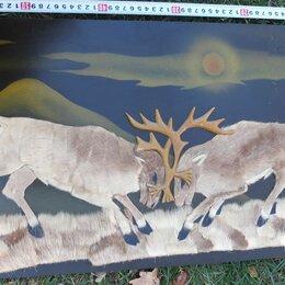 Картины, постеры, гобелены, панно - настенное панно Битва самцов оленей, мех северного оленя, 0
