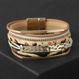 Браслеты - Браслет ассорти 'На магните' Калахари, цвет бежево-леопардовый в золоте, 19,5 см, 0