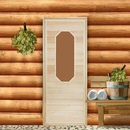 """Двери - Дверь для бани со стеклом """"Ромашка"""", 170×70см, """"Добропаровъ"""", 0"""