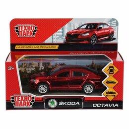 Интерьер - Машина металл SKODA OCTAVIA ХРОМ 12 см, двери, багаж, инерц, красный, кор. Техно, 0