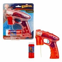 """Мыльные пузыри - Пистолет с мыльными пузырями """"Человек паук"""", светится в темноте, 60 мл, 0"""