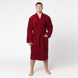 """Домашняя одежда - Халат махровый """"Экономь и Я"""" мужской размер 56-58 бордо, 340 г/м2, хл. 100% с..., 0"""