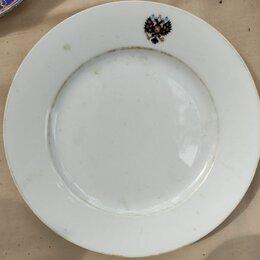 Посуда - фарфоровая тарелка с клеймом Николай 2 , царская Россия, 0