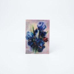 Обложки для документов - Обложка для проездного, цвет розовый, «Ирис сиреневый», 0