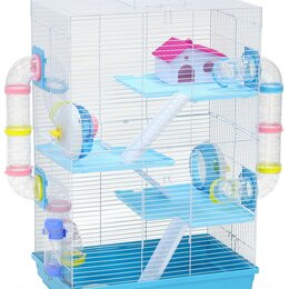 Клетки и домики  - N1 Клетка для грызуна, 55*30,2*70, 3 этажная, прямоугольная, укомплектованная., 0