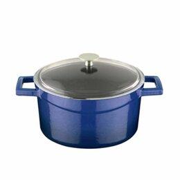 Кастрюли и ковши - Чугунная эмалированная кастрюля  со стеклянной крышкой 6,71 л, 28 см, синий, 0