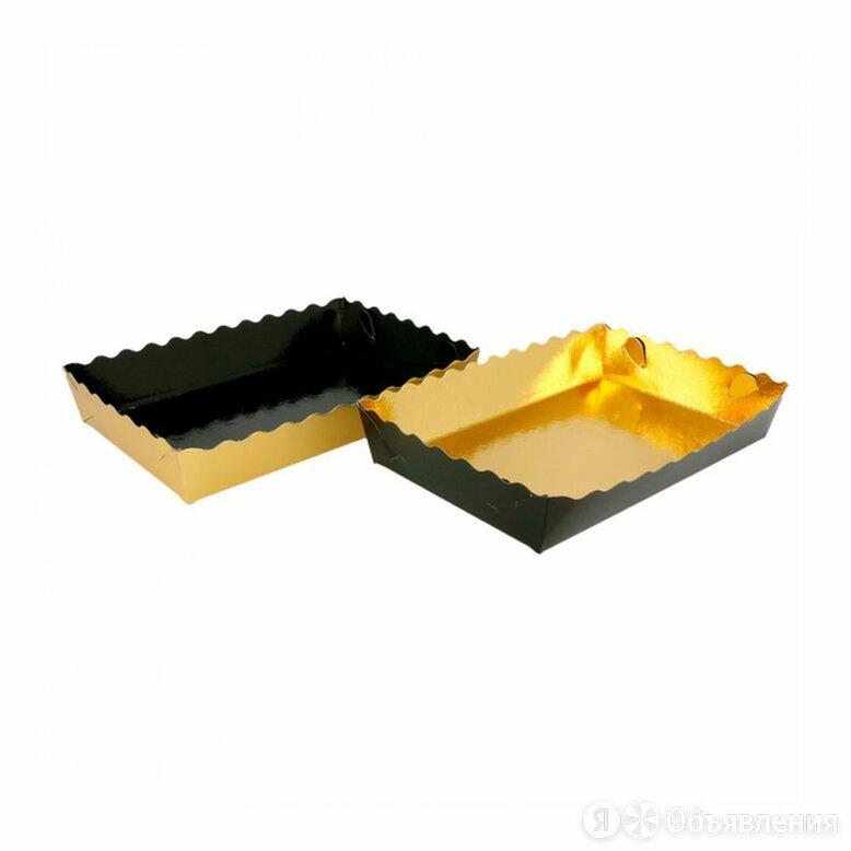 Контейнер для кондитерских изделий, 19*12*3,5 см, двусторонний - золотой/черн... по цене 7194₽ - Упаковочные материалы, фото 0