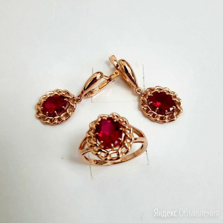 Золотые серьги и кольцо с рубином по цене 42940₽ - Комплекты, фото 0