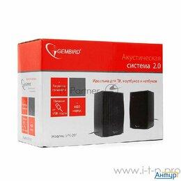 Комплекты акустики - Акустич. система 2.0 Gembird Spk-201 (МДФ, черный ,2х2,5 Вт,usb-питание), 0