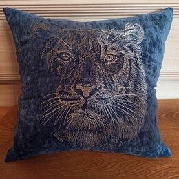Декоративные подушки - Тигр. Декоративная подушка с машиной вышивкой., 0