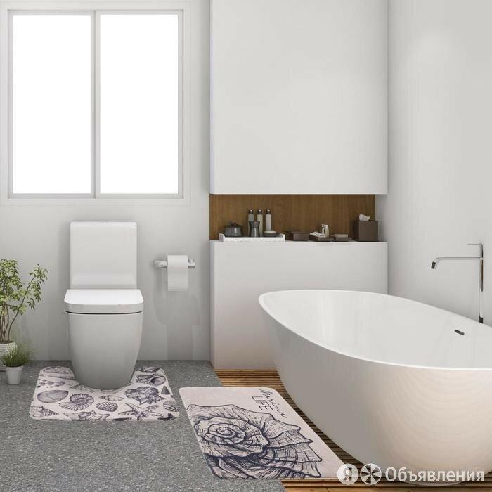 """Набор ковриков для ванной Этель """"Marine life"""" 2 шт, 80х50 см, 50х40 см, велюр по цене 1130₽ - Коврики, фото 0"""