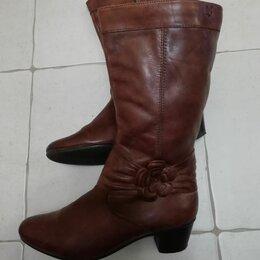 Сапоги - Женские сапоги кожаные коричневые, 0