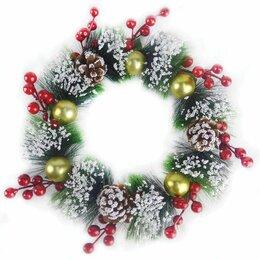Новогодний декор и аксессуары - Венок новогодний заснеженный, с золотыми украшениями, шишками и ягодами, диаметр, 0