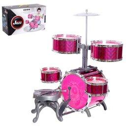 Ударные установки и инструменты - Барабанная установка «Большой музыкант», со стульчиком, цвет розовый, 0