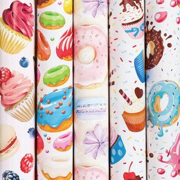 Подарочная упаковка - Бумага упаковочная мелованная 70х100 см ЗОЛОТАЯ СКАЗКА «Sweets», 5 дизайнов, 70 , 0