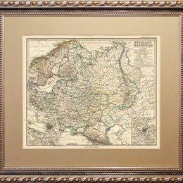 Гравюры, литографии, карты - Гравированная карта 1887 года. Российская Империя до Сибири R1476, 0