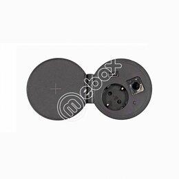 Электроустановочные изделия - Блок розеток врезной, 1 розетка, 1 USB, беспроводная зарядка, серебро+черный, d=, 0