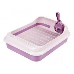 Туалеты и аксессуары  - Набор туалет+совок 'Феликс' для кошек, 45 x 35 x 15 см, фиолетовый, 0